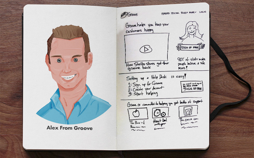 Alex from Groove and a home page sketch